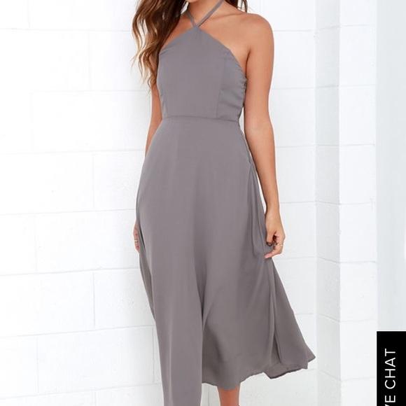 512ec8d5e12b0 Lulu's Dresses & Skirts - Lulu's grey halter midi flowy dress taupe ...